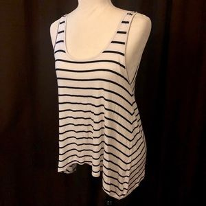 🆕 White & Black Striped Asymmetrical Hem Tank